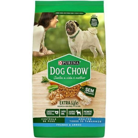 Ração Seca Nestlé Purina Dog Chow Controle de Peso Frango e Arroz para Cães Adultos Todos os Tamanhos