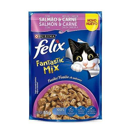 Ração Úmida Nestlé Purina Felix Fantastic Deli para Gatos Adultos Mix Salmão e Carne 85g