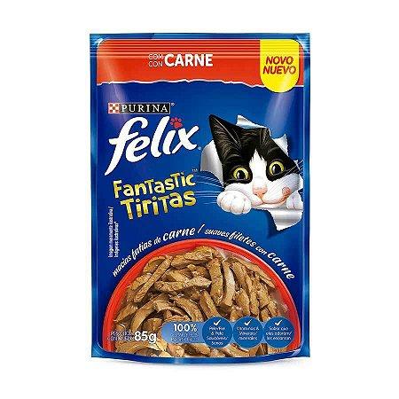 Ração Úmida Nestlé Purina Felix Fantastic Tiritas para Gatos Adultos Sabor Carne 85g
