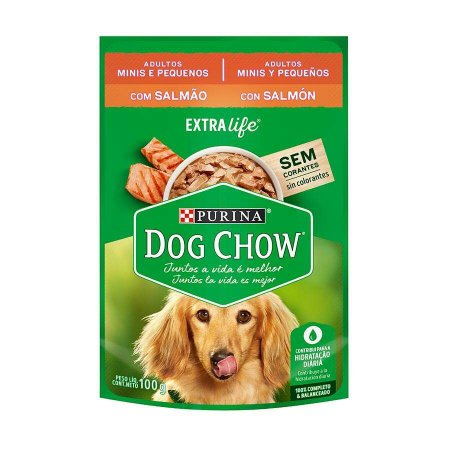 Ração Úmida Dog Chow Sachê para Cães Adultos de Raças Pequenas sabor Salmão 100g