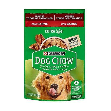 Ração Úmida Dog Chow Sabor Carne para Cães Adultos - 100g