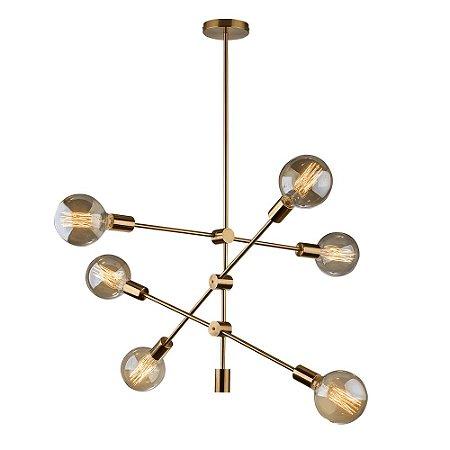 Pendente Circuit Hastes Articuladas Material Aço 6 82x94cm Dourado Lâmpadas E27 20W Startec 149260070