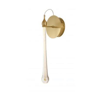 Arandela Goccia Led 3W 3000k Bivolt 42x12x11cm Dourado/Transparente Bella Iluminação OC005