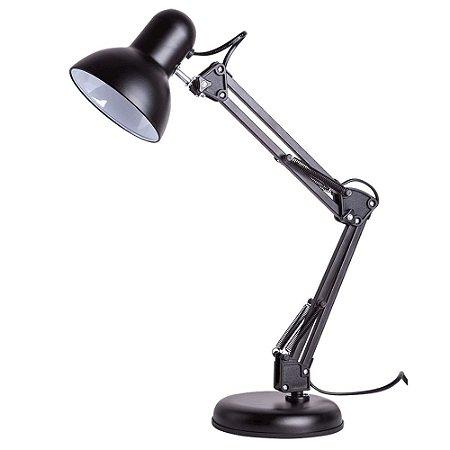 Luminária de Mesa Empire B Aço 1XE27 Articulável 16x60cm Cor Preta 20W Startec 110110000