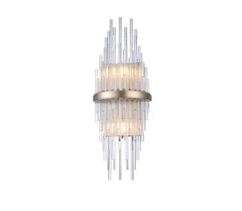 Arandela Sansa 12x55cm 2xE14 127v / 220v Dourado e Transparente Bella Iluminação MR008