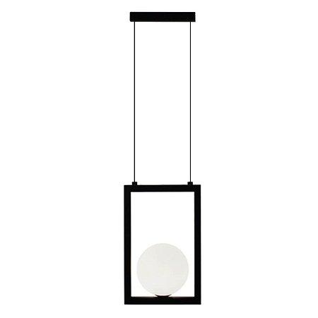 Pendente Orbit Alumínio e Vidro 18x10x28cm 1xG9 5W Bivolt Cor Preto e Branco Casual Light PDH1532PT