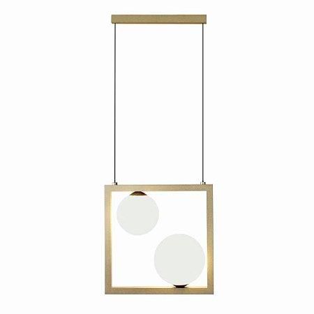 Pendente Orbit 2 Esferas Alumínio e Vidro 26x12x26cm 2xG9 10W Bivolt Cor Dourado e Branco Casual Light PDH1533DO