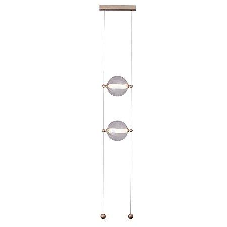 Pendente Lune Metal e Vidro 35x20x209,8cm Led 22W 1320LM 3000K Bivolt Cor Dourado e Transparente Studioluce PD1519