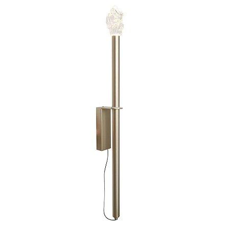 Arandela Petram Metal e Vidro Transparente 5,5x60x09cm Led 2W 260LM 3000K Bivolt Cor Dourado Studioluce AR1485DO