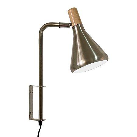 Arandela Horn Metal e Madeira 23x12,5x36cm 1xG9 40W Bivolt Cor Aço Escovado Casual Light QAR1457AE