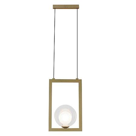 Pendente Orbit Alumínio e Vidro 18x12x28cm 1xG9 5W Bivolt Cor Dourado e Transparente Casual Light PDH1532TRDO