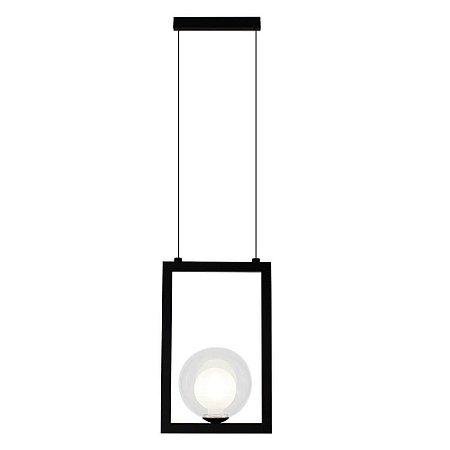 Pendente Orbit Alumínio e Vidro 18x12x28cm 1xG9 5W Bivolt Cor Preto e Transparente Casual Light PDH1532TRPT