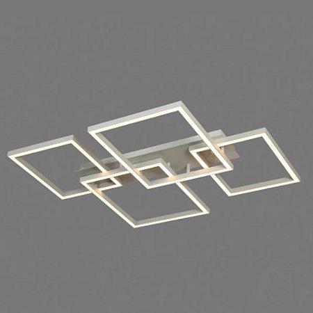 Plafon Quattro Alumínio e Acrílico 71,2x90,8x9,5cm Led 86W 2700K Cor Branco Mais Luz PL-098/86.27BF