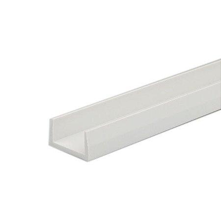 Perfil PVC U para Mangueira Neon Flexível de Silicone 13x8mm Barra 2 Metros  Cor Branco Alpertone 626B