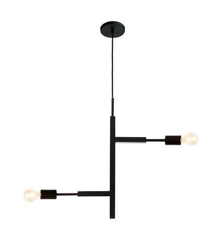 Pendente Jazz Alumínio 66x05x60cm 2xE27 LED Bulbo A60 ou LED Filamento Bivolt Itamonte Nac 471/2