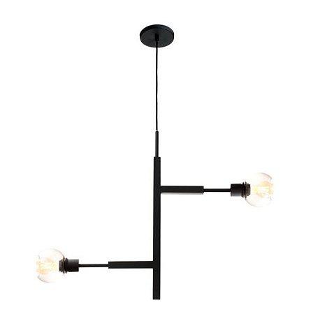 Pendente Jazz Alumínio 80x12x60cm 2xE27 LED Bulbo A60 ou LED Filamento Bivolt Itamonte Nac 472/2