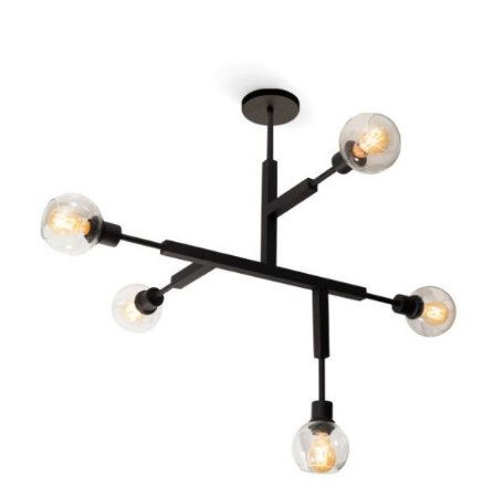 Plafon Jazz C/ Vidro Alumínio e Vidro 135x82x78cm 5xE27 LED Bulbo A60 ou LED Filamento Bivolt Itamonte Nac  4282/5G