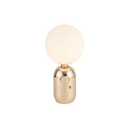 Luminária de Mesa Lattea em Metal e Vidro Leitoso 200x395mm Cor Dourado Brilho Flavo FT1240DB