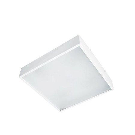 Luminária Sobrepor Quadrada Alumínio e Acrílico 25x25x08cm 2xE27 LED Bulbo A60 Bivolt Itamonte Nac 3040/25