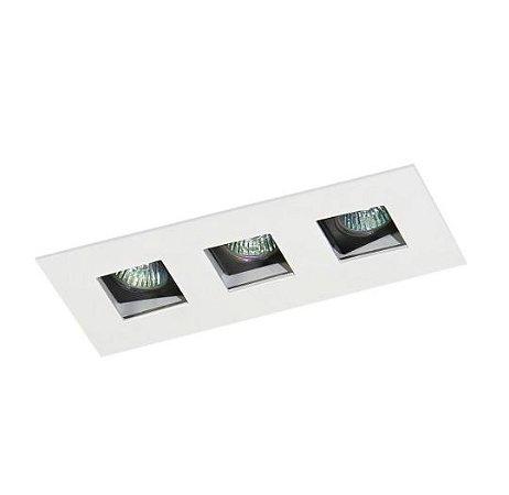 Spot Embutir Triplo Alumínio 08x19x6,5cm 3xGU10 LED Mini Dicróica MR-11 Bivolt Itamonte Nac 12001/3