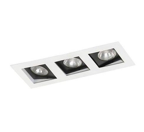 Spot Embutir Triplo Alumínio 13x34,5x11,1cm 3xE27 LED Par20 Bivolt Itamonte Nac 12003/3