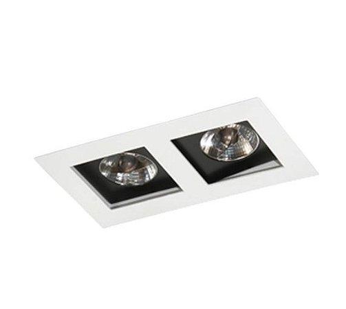 Spot Embutir Duplo Alumínio 13x23,5x08cm 2xGU10 LED AR70 Bivolt Itamonte Nac 12004/2