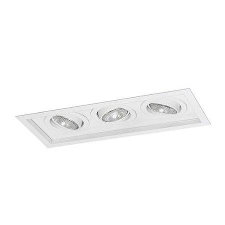 Spot Módulo Embutir Triplo Alumínio 17x40,5x11,1cm 3xE27 LED Par20 Bivolt Itamonte Nac 1012/3