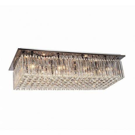 Plafon Elegance Quadrado Inox e Cristal 60x30cm K9 5XG9 Cor Cromado Casual Light 161-CR