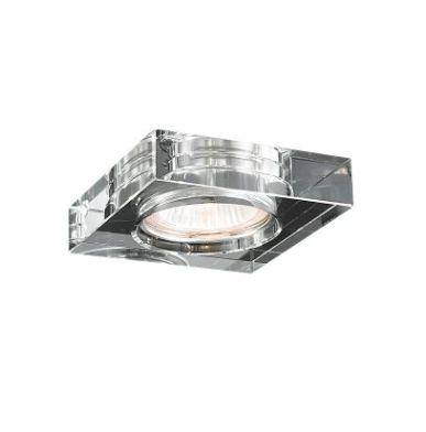 Spot de Embutir Aço e Cristal 10x10x4,5cm 1xGU10 50W Transparente Mais Luz SE-008/1.10