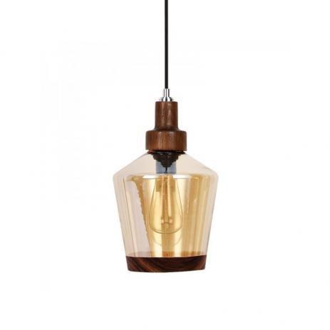 Pendente Timber Lampo 20x22,5cm 1xE27 60W Cor Âmbar Casual Light 460
