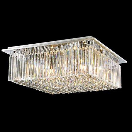 Plafon Aço Cromado - Cristal Translúcido Mais Luz PL-003/8.55CL