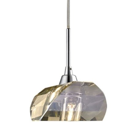 Pendente Aço e Cristal Conhaque 14x14,5x200cm 1xG9 40W Cromado Mais Luz PE-013/1.9CO