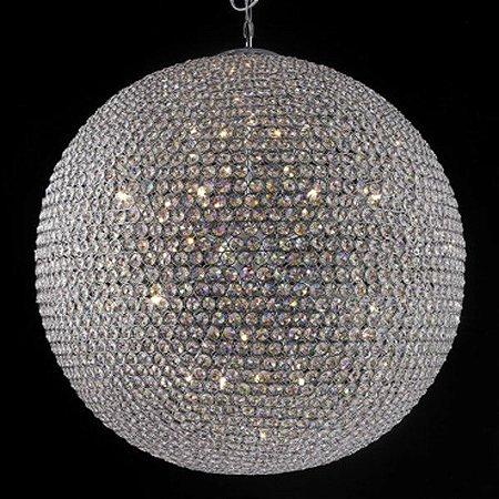 Pendente Aço Cromado - Cristal Translúcido + Luz PE-022/24.100CL