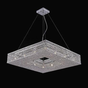 Pendente Aço e Cristal Translúcido 60,80x60,80x12cm 12xG9 40W Cromado Mais Luz PE-022/12.61CL