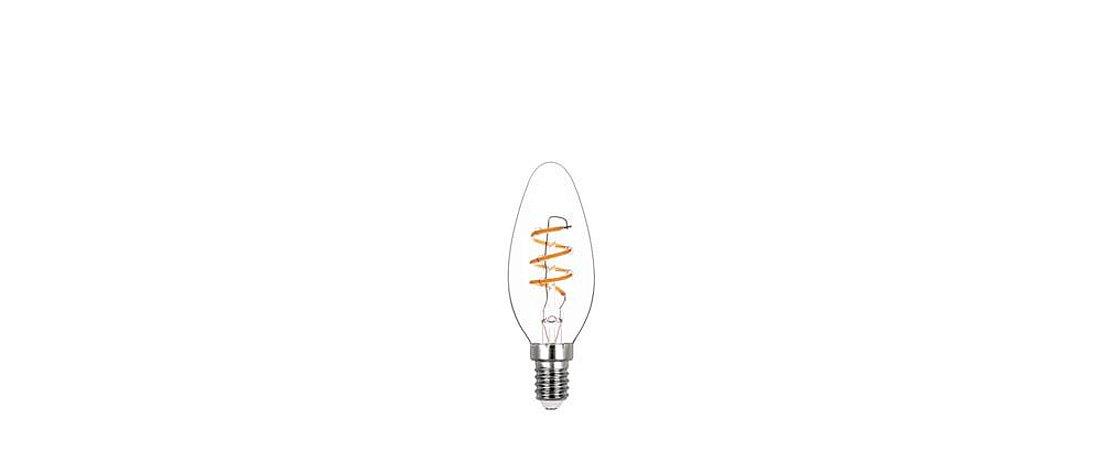 Lâmpada Vela Lisa Filamento Espiral Vidro Translúcido 220V 2,5W 180LM 2400K E14 300° Stella STH8384/24