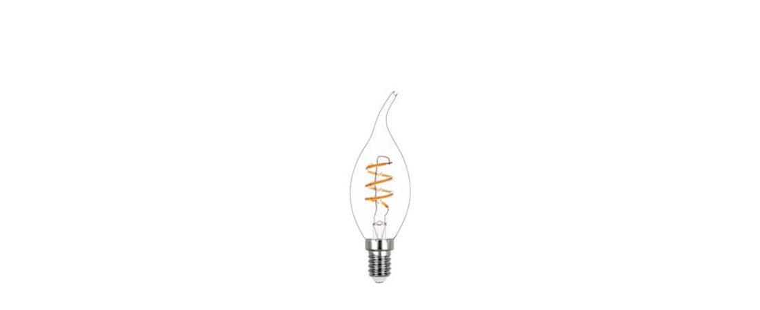 Lâmpada Vela Chama Filamento Espiral Vidro Translúcido 127V 2,5W 180LM 2400K E14 300° Stella STH8393/24