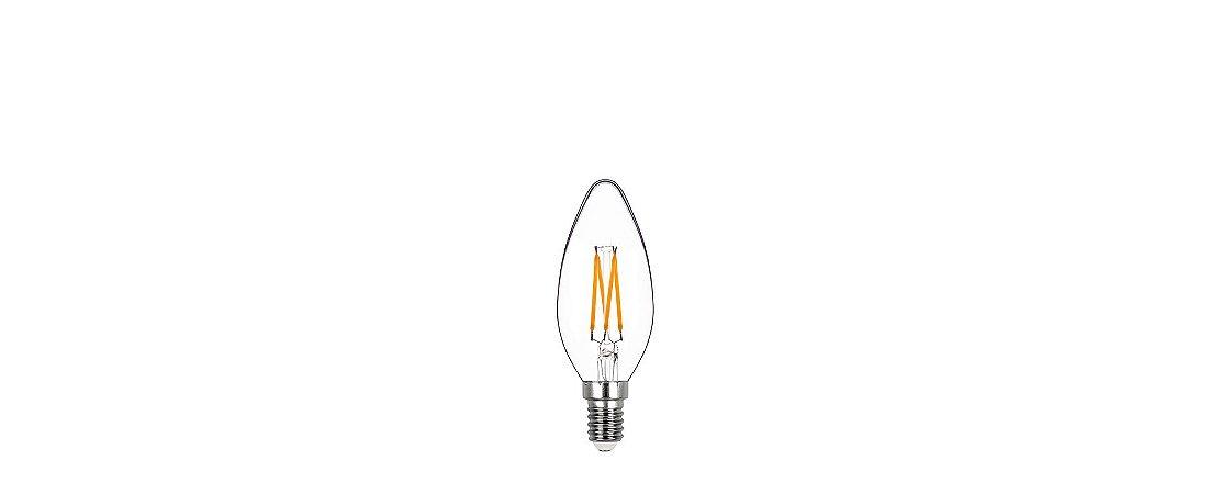 Lâmpada Vela Lisa Filamento Dimerizável Vidro Translúcido 127V 4W 250LM 2400K E14 300º Stella STH8361/24
