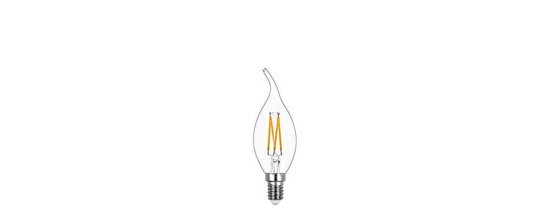 Lâmpada Vela Chama Filamento Dimerizável Vidro Translúcido 127V 4W 250LM 2400K E14 300º Stella STH8371/24