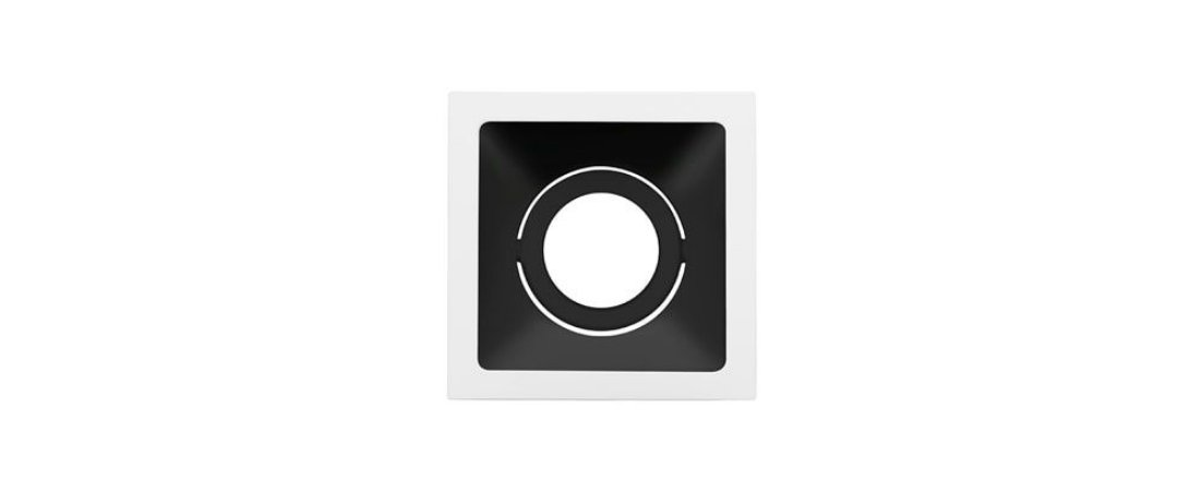 Embutido Direcionável Alumínio Square MR16 96x96mm Branco e Preto 15W Stella STH8915BR/PTO
