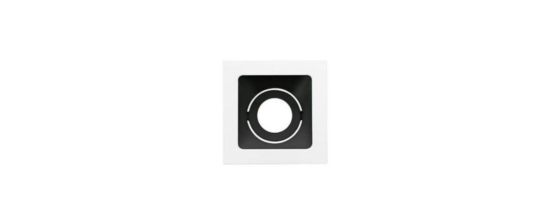 Embutido Direcionável Alumínio Square Ghost PAR20 112x112mm Branco e Preto 20W Stella STH8950BR/PTO