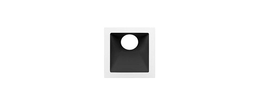 Embutido Angular Alumínio Square Angle MR11 25° 74x74mm Branco e Preto 15W Stella STH8960BR/PTO