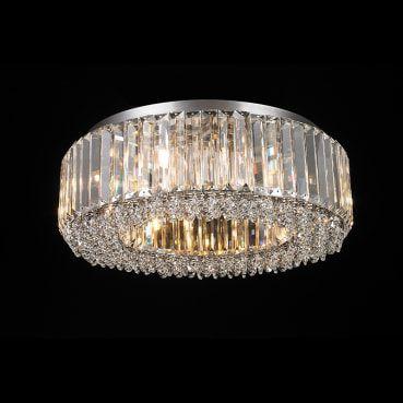 Plafon  Aço Cromado - Cristais Translúcido Mais Luz PL-035/8.45CL