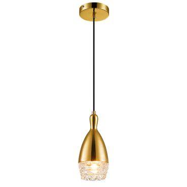 Pendente Aço Dourado Vidro Transparente Mais Luz PE-039/1.10DOU