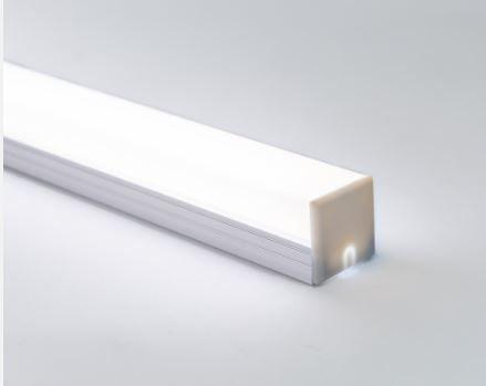Perfil Sobrepor de Alumínio Square Difusor Leitoso Barra 250cm Revoled AP0701