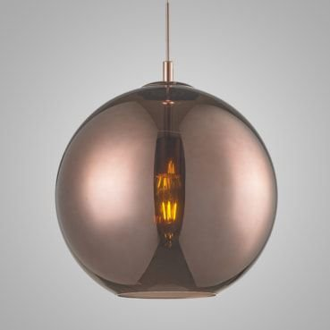 Pendente Aço e Vidro 35cmx33cm 1xE27 60W Cor Bronze Mais Luz PE-001/1.35BRO