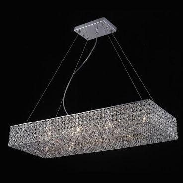 Pendente Aço e Cristal Translúcido 30,4x80,4x12 10xG9 40W Cromado Mais Luz PE-022/10.81CL