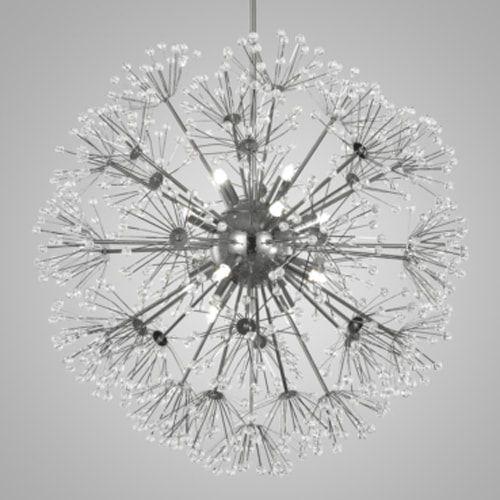 Pendente Fibbra Aço Cromado E Cristais Mais Luz PE-088/12.60C