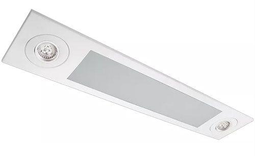 Luminária Embutir Mix Retangular 2 Tubular T8 + 2 PAR20 92x18cm Metal e Acrílico Impacto MD2020-E