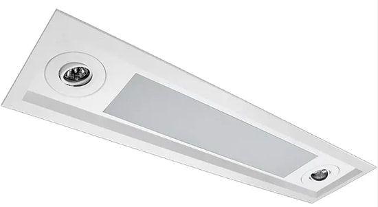 Luminária Embutir Recuado Mix Retangular 2 Tubular T8 + 2 PAR16/Dicroica 92x16,5cm Metal e Acrílico Impacto MD220-R