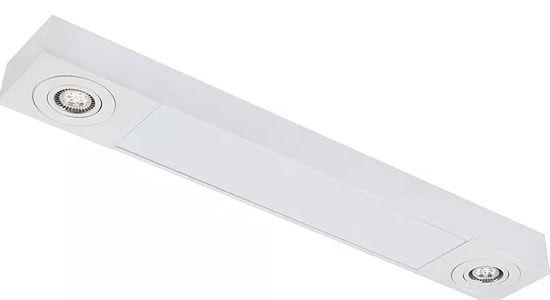Plafon Sobrepor Mix Retangular 2 Tubular T8 + 2 PAR16/Dicroica 90x14cm Metal e Acrílico Impacto MD220-S